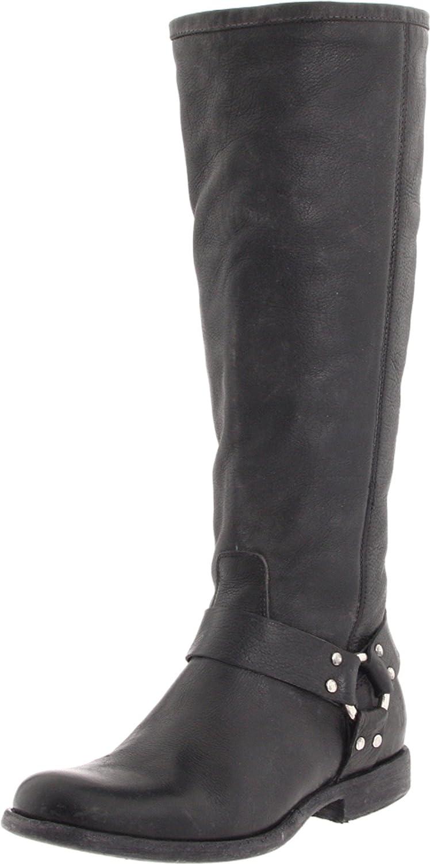 FRYE Women's Phillip Harness Tall Boot B004W1SOOM 6.5 B(M) US|Black Soft Vintage Leather-76850