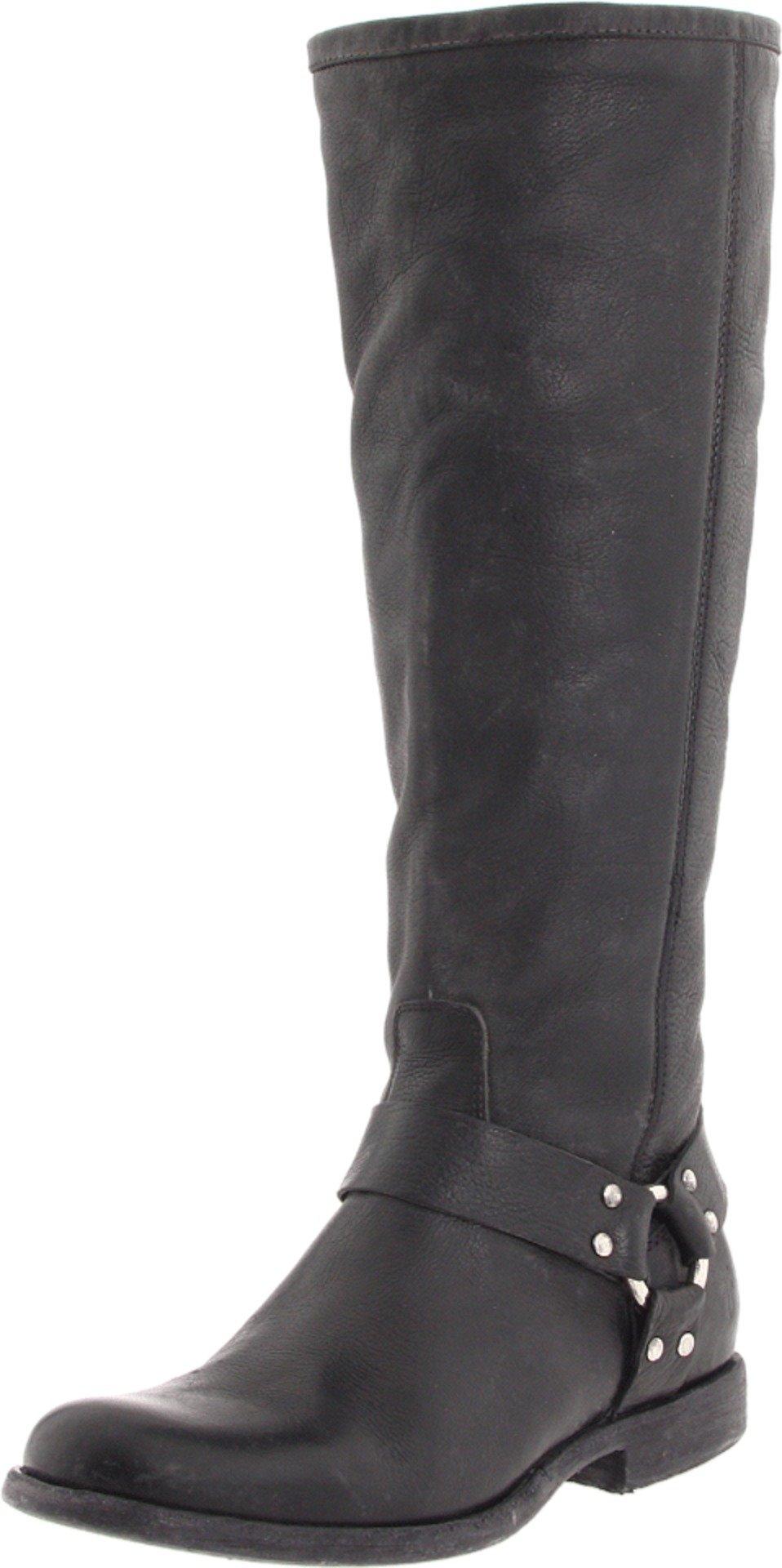 FRYE Women's Phillip Harness Tall medium calf Boot, Black Soft Vintage Leather, 6.5 M US