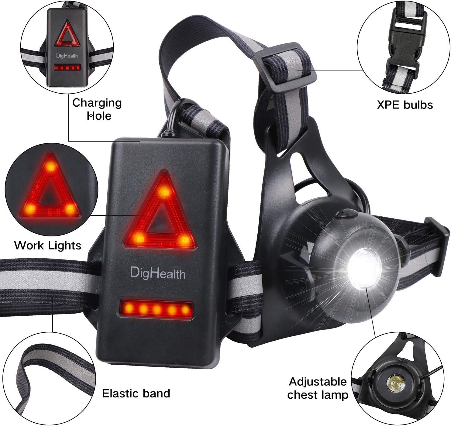 DigHealth Luz para Correr, 3 Modos LED Luz de Pecho Impermeabl con ...