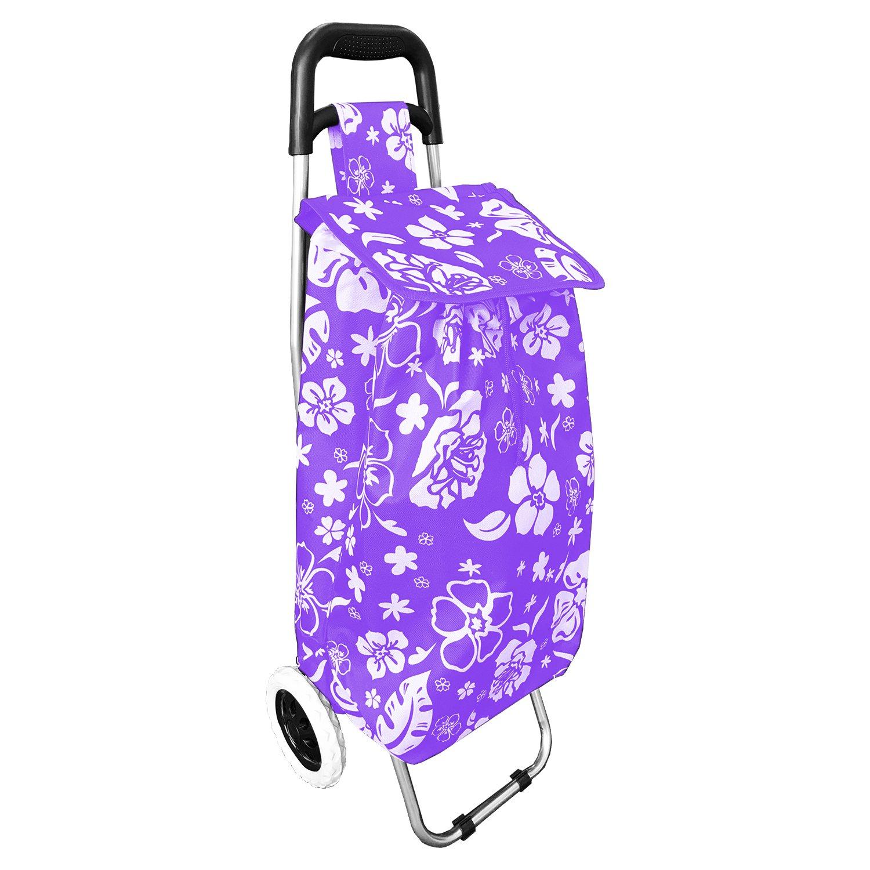 Einkaufstrolley Treppensteiger Einkaufsroller Einkaufskorb Blumenmuster mit R/ädern Violett klappbar