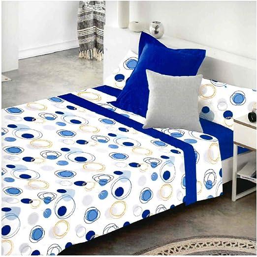 COTTON ARTean Juego de sabanas LLANES Azul Cama de 90 x 190/200. 50% ALGODÓN-50% Poliester.: Amazon.es: Hogar