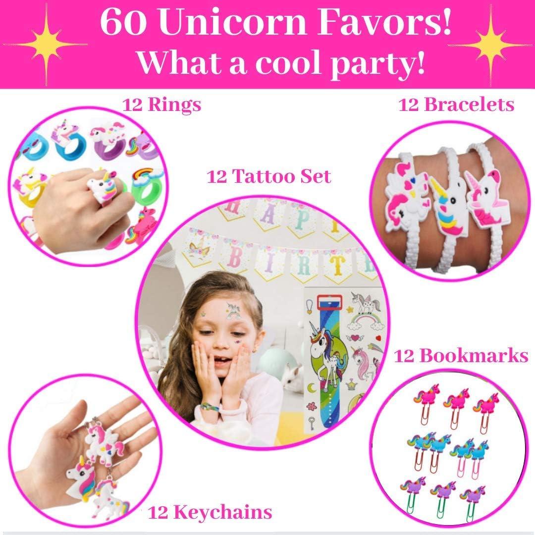 Rings 200+ Tattoos Keychains Best Unicorn Party Favors For Girls Perfect Unicorn Party Favors For Kids. Headbands Bracelets 60 Pcs Unicorn Favors Matching Colors Unicorn Party Favors Set