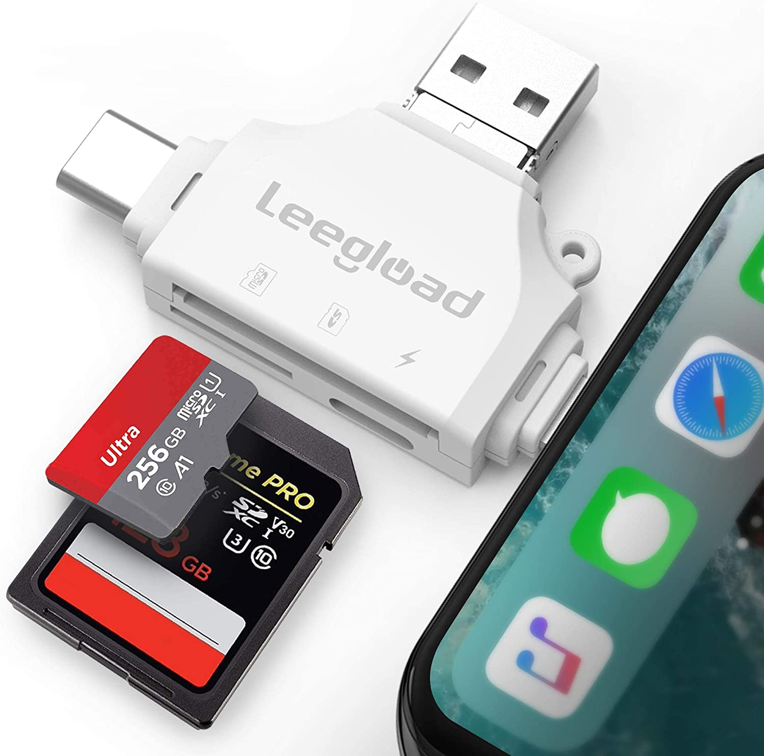 LEEGLOAD SD Card Reader,4 in 1 Micro SD Card Reader for iPhone/iPad/Android/Mac/Trail Camera,Deer Cam Card Viewer with USB C & Lightning,No Need APP