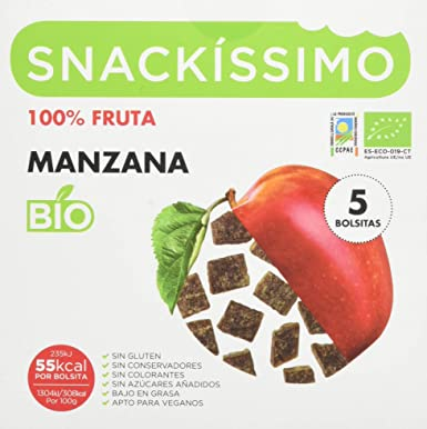 Snackissimo Snack de Manzana Bio - Pack de 5 bolsas 90 gr ...