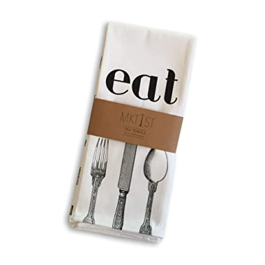 MKT ST Eat and Utensils 100% Cotton Tea Towel Set -- Perfect for Housewarming Wedding Birthday Gift