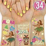 xo, Fetti Luau Party Decorations Metallic Hawaiian Tattoos for Kids - 34 styles | Tropical Beach Party Supplies, Aloha Decor, Summer Party Favors, Tiki Birthday