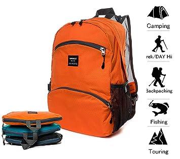 20L Mochila Senderismo Plegable Mochilas de Ligero Deporte Viaje Impermeable Excursión Deportes al Aire Libre/Bolsa de Viaje, Naranja: Amazon.es: Deportes y ...
