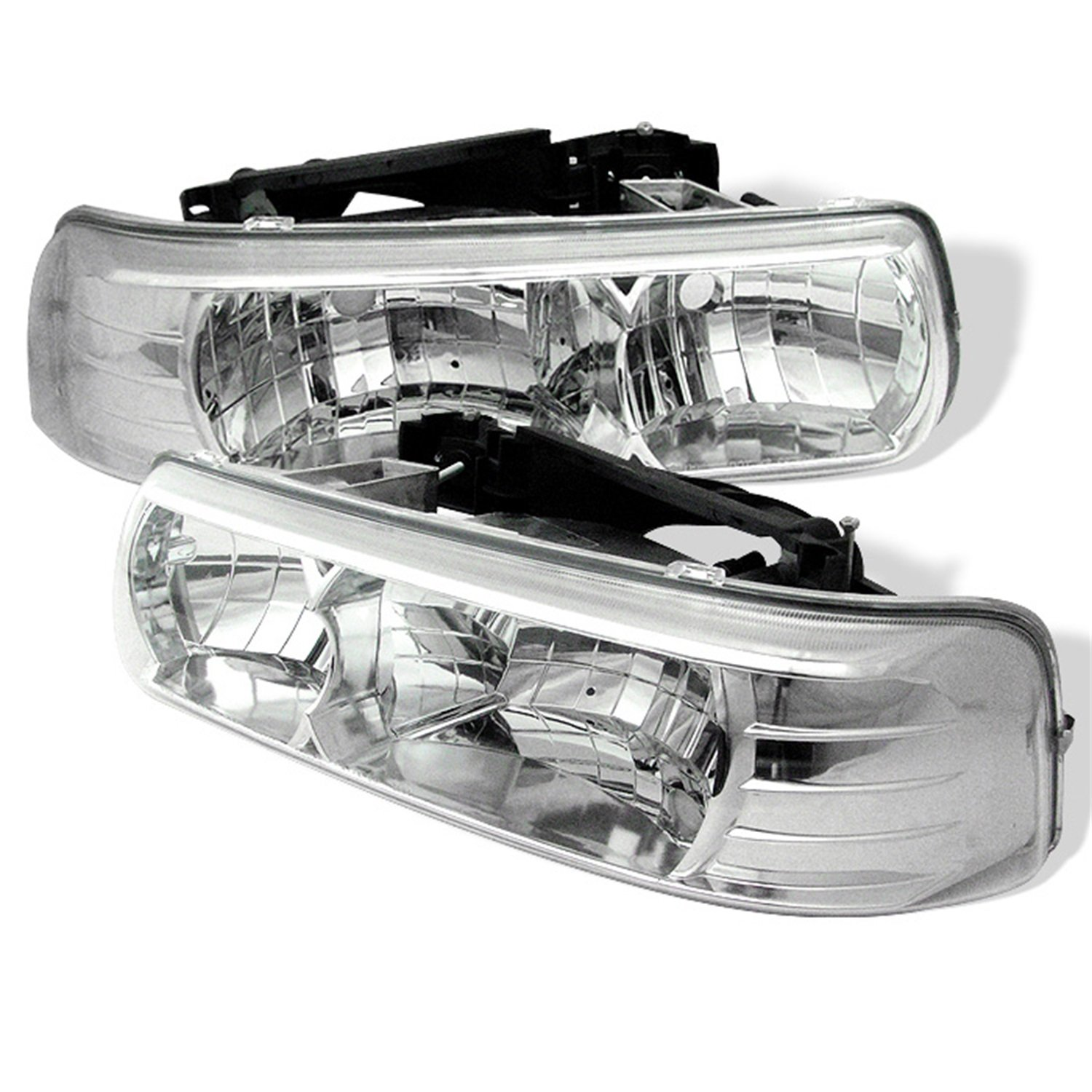 Amazon com spyder auto chevy silverado 1500 2500 3500 chevy suburban 1500 2500 chevy tahoe chrome crystal headlight automotive