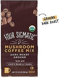 Four Sigmatic Mushroom Ground Coffee - USDA Organic and Fair Trade Coffee with Lions Mane and Mushroom Powder - Focus...