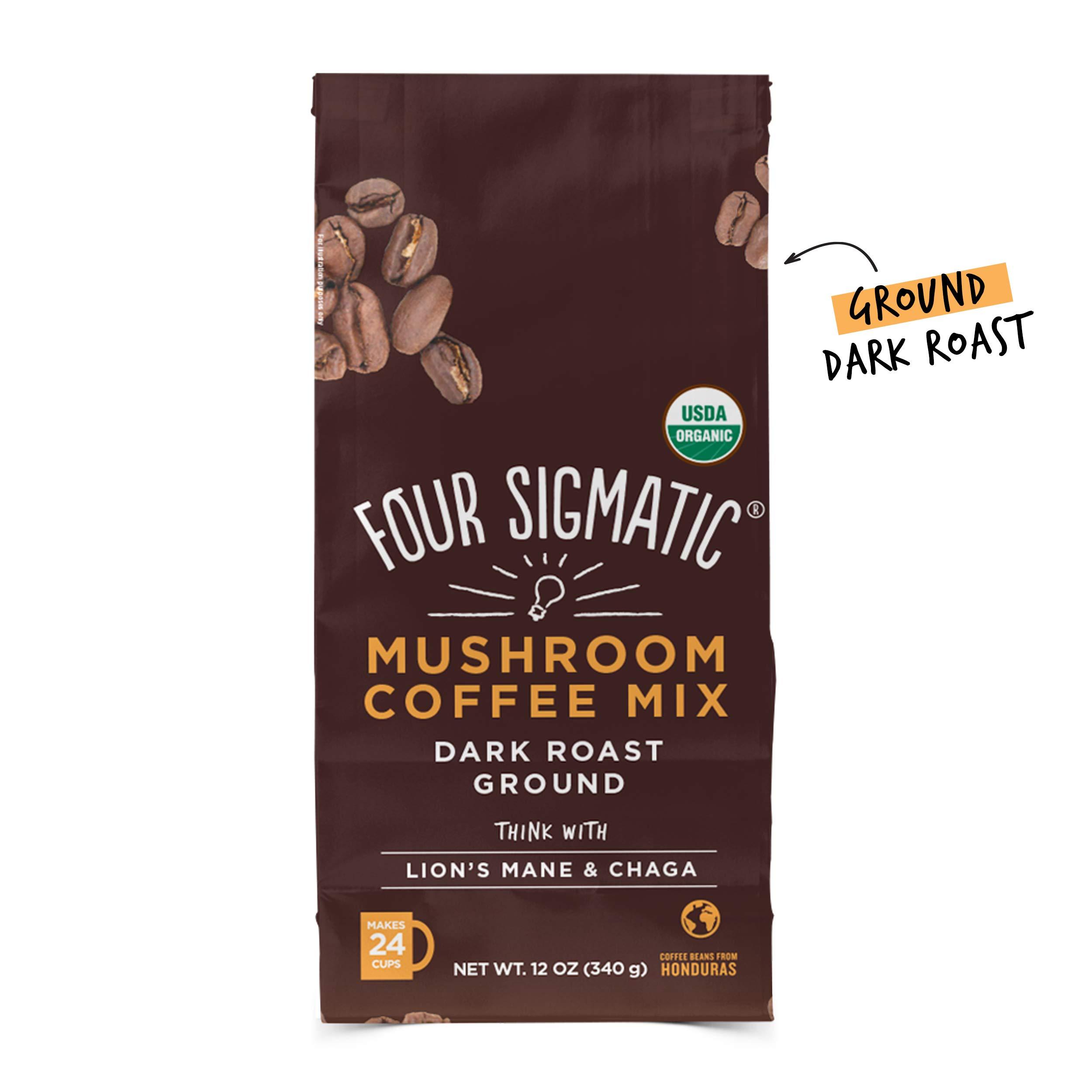 Four Sigmatic Mushroom Ground Coffee - USDA Organic and Fair Trade Coffee with Lions Mane and Mushroom Powder - Focus, Wellness - Vegan, Paleo - 12 Oz - Dark Roast by Four Sigmatic
