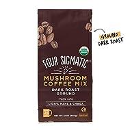Four Sigmatic Mushroom Ground Coffee - USDA Organic and Fair Trade Coffee with Lions Mane and Mushroom Powder - Focus, Wellness - Vegan, Paleo - 12 Oz - Dark Roast