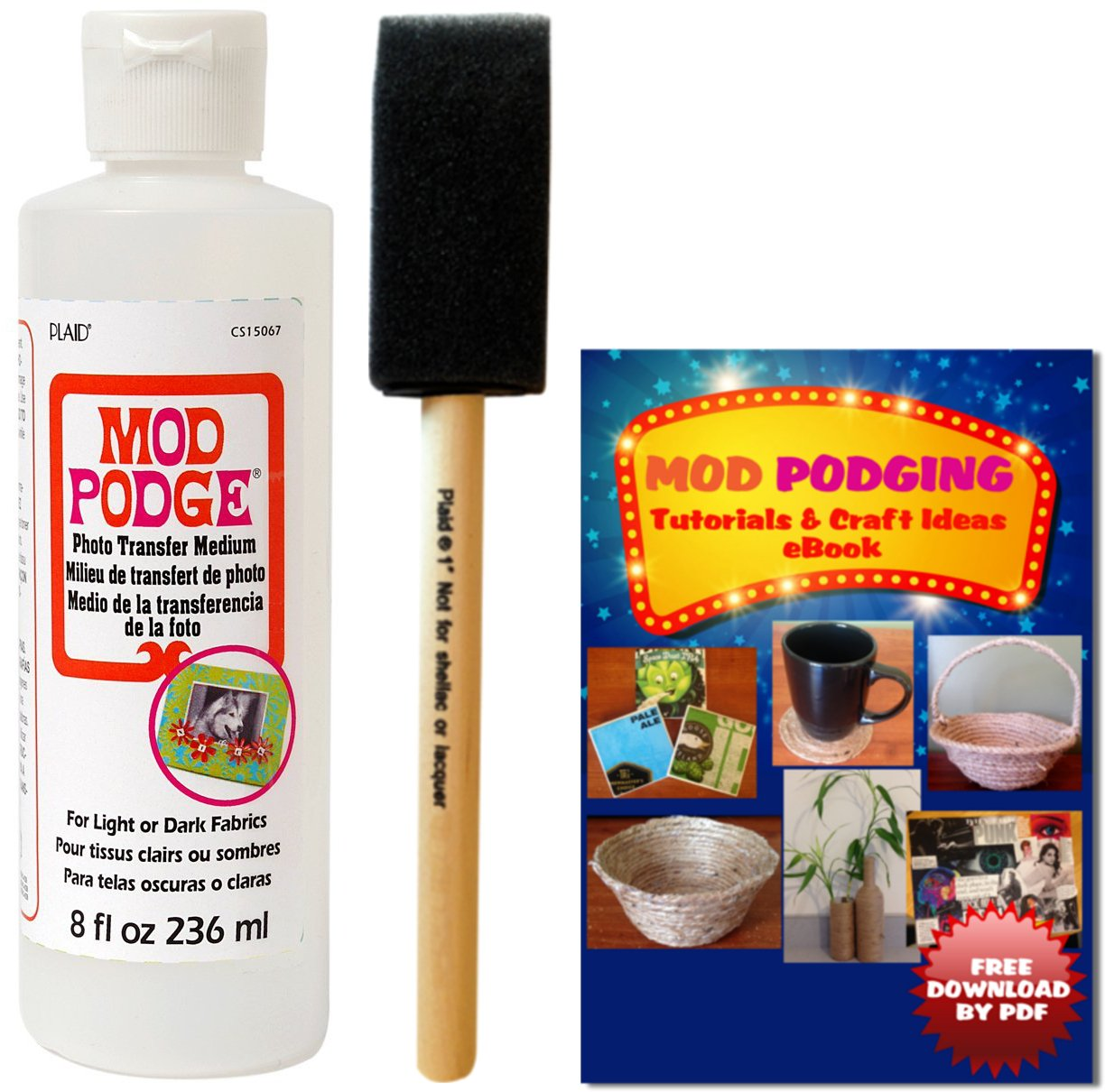 Mod Podge Photo Transfer Medium (8 oz) + Brush + Free Downloadable eBook
