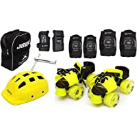 Jaspo Road Razor Pro Adjustable Senior Roller Skates Combo Suitable for Age Group 6 to 14 Years