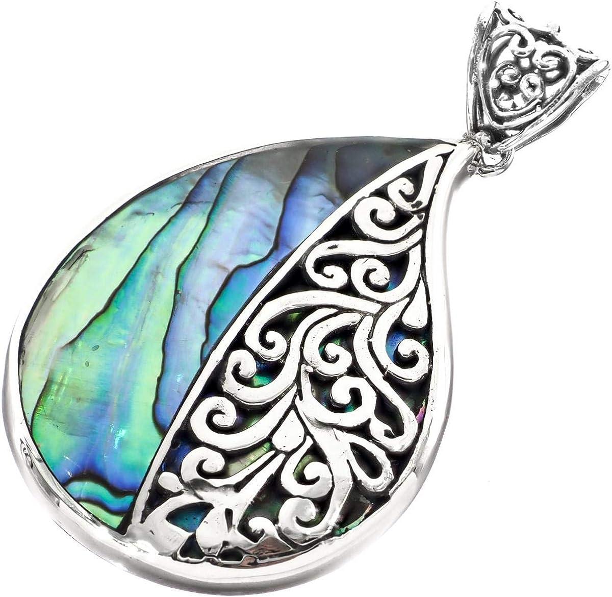 Teardrop Paua Abalone Shell Scrollwork 925 Sterling Silver Pendant 2