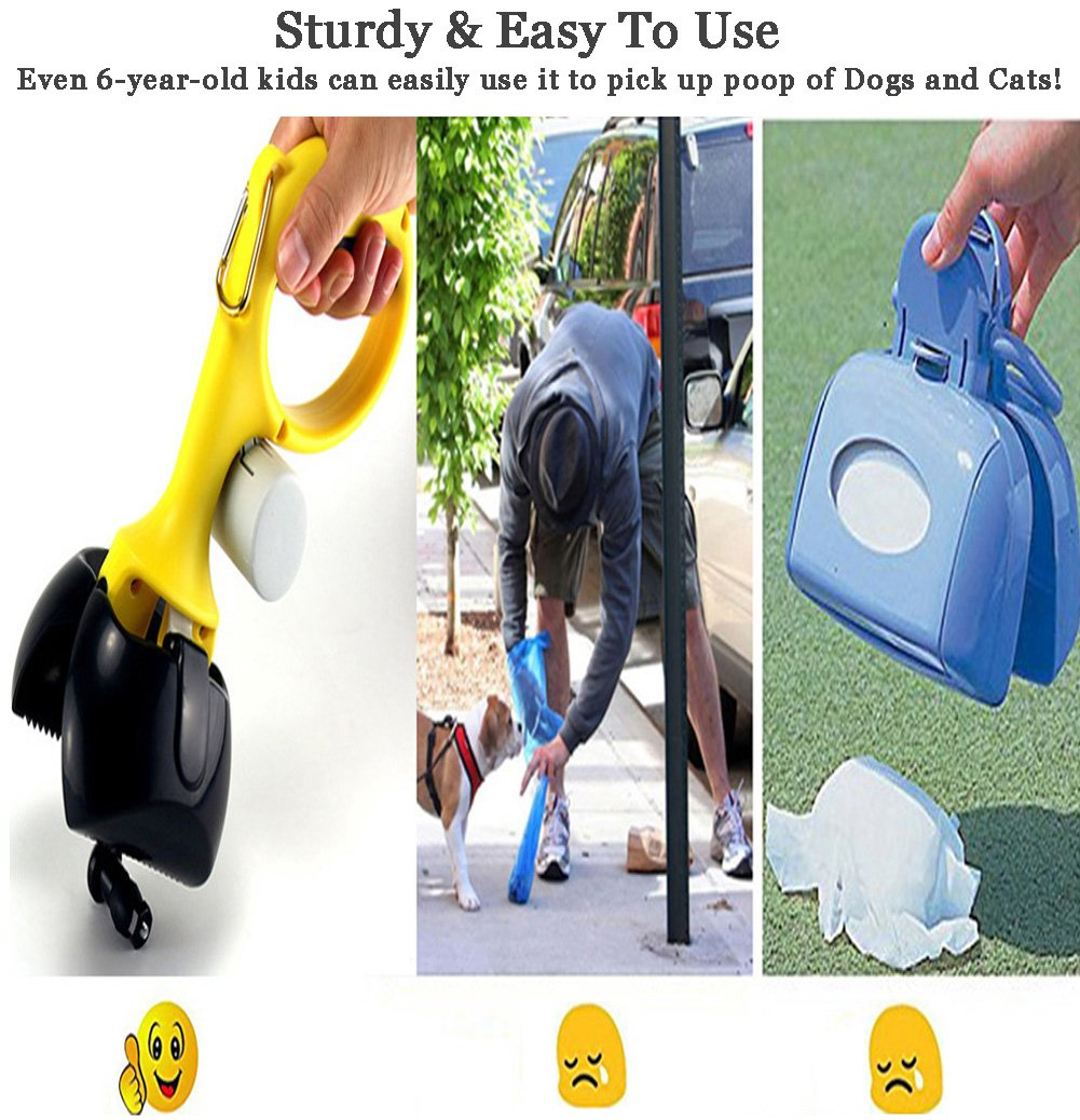 Pooper Scooper Rake Spade Cat Dog Pet Waste Scoop-Portable Jaw Clamp Scooper For Indoor Or Outdoor Waste Picker Perfect For Small Medium Large XL Pets (FREE Pet Brush & 6 Roll Sog Poop Bags)