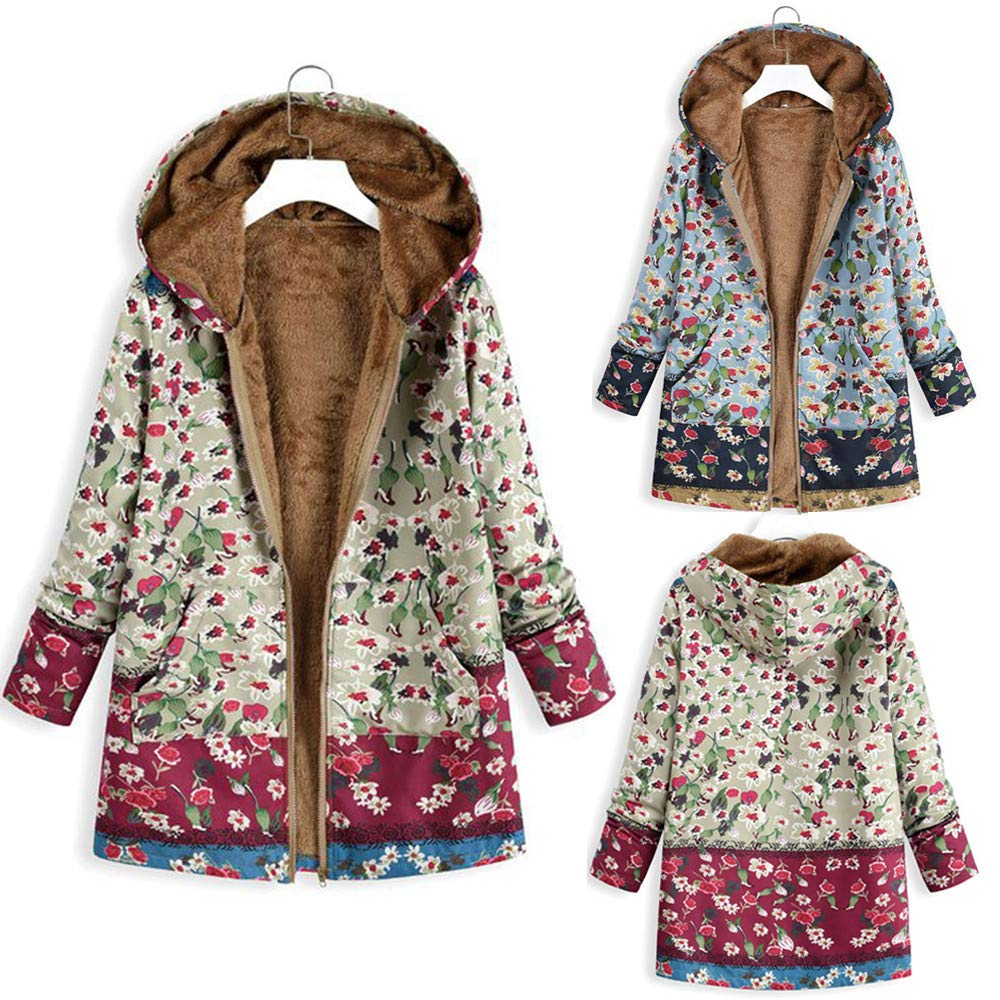 Wokasun.JJ Womens Winter Warm Cotton Coats,Floral Print Hooded Jacket Oversize