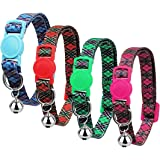 azuza Breakaway Kitten Collar with Bell, Quick Release Safe Buckle Kitten Collars, Classic Plaid Pattern, Pack of 4