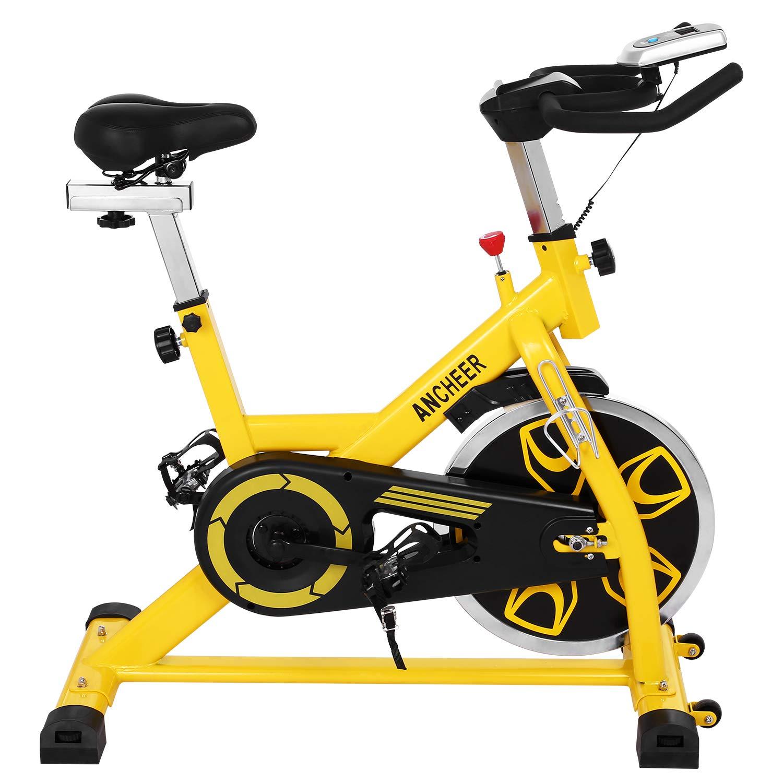 ANCHEER Indoor Cycling Bike, Belt Drive Indoor Exercise Bike with 49LBS Flywheel (Yellow)