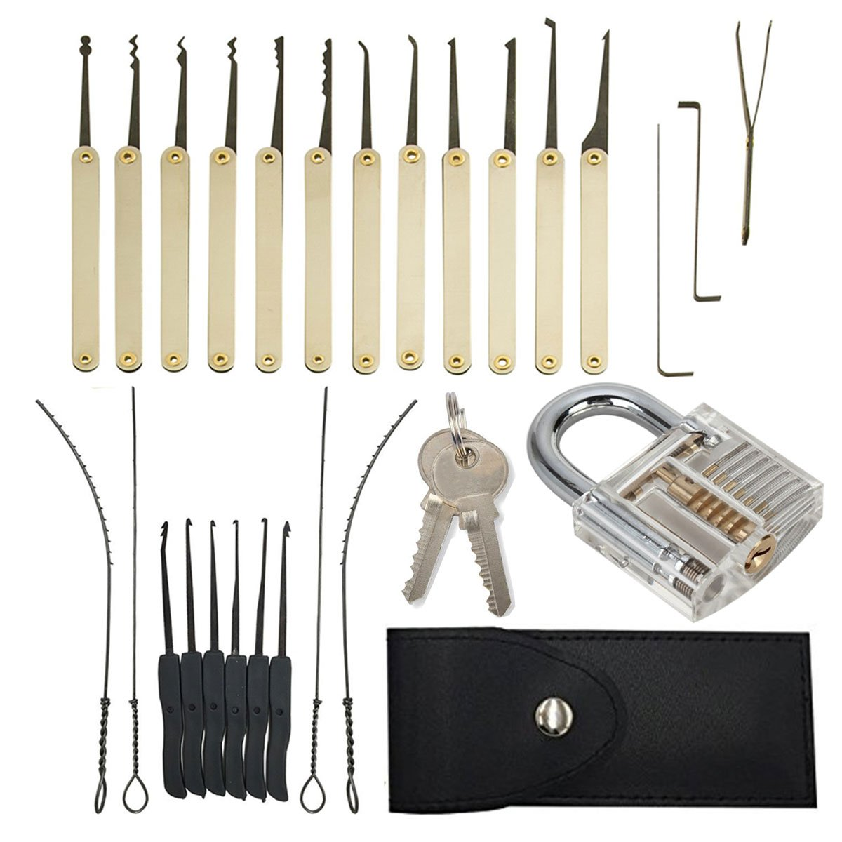 Geepro 25 Pieces Professional Practice Lock Pick Set Include Transparent 10pcs Lockpick Training Tool Various Picks Crochet Hook Leather Pouch For Locksmith Lockpicking Key Extractor Exercise