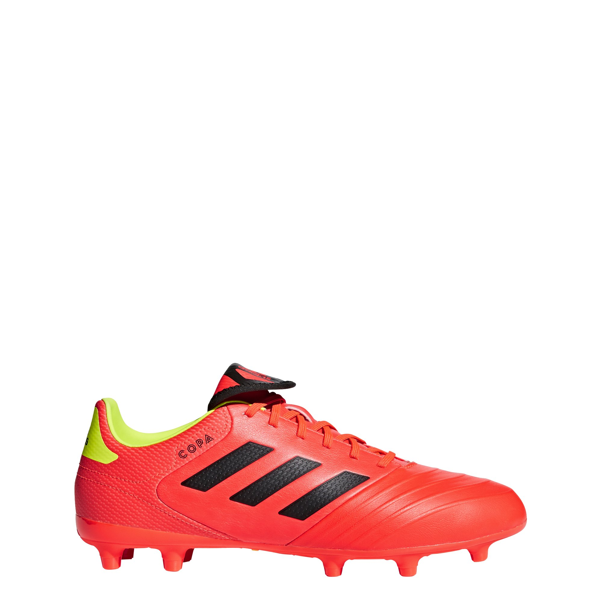 adidas Men's Copa 18.3 Firm Ground Soccer Shoe, Solar Red/Black/Solar Yellow, 11 M US