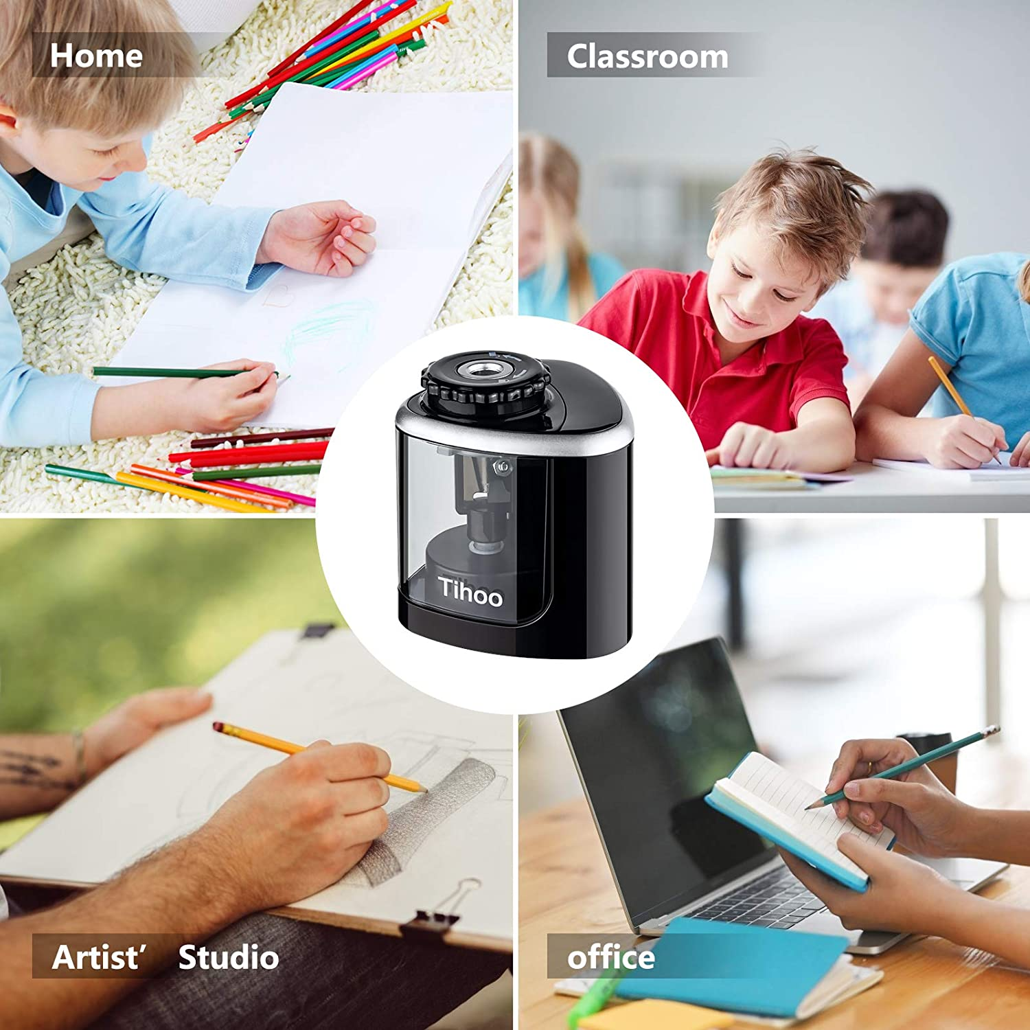 Electric Pencil Sharpener with 1 Replaceable Blades,Battery-Powered and Easy to Use for Classroom Supplies Pencil Sharpener Gift for School Classroom Office Kid 6-8mm