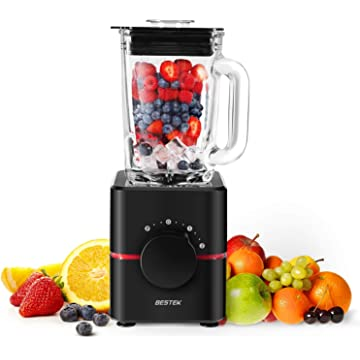 BESTEK Electric Blender, 2-Speed Blender with Glass Jar -BPA Free 550 Watts Smoothie Blender, Professional Food Processor, Mixer, Juicer, Mul,UL Certified