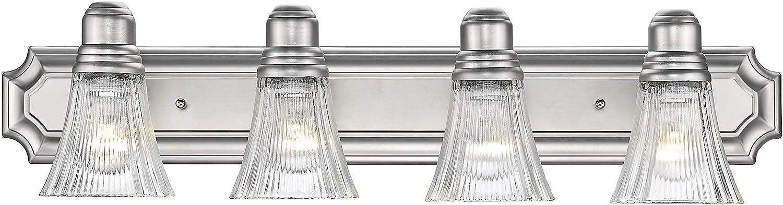 Odeums Classic Bathroom Vanity Lights, Interior Wall Sconce, 4-Lights Bath Lighting Fixture, Modern Home Bathroom Lighting in Satin Nickel Finish