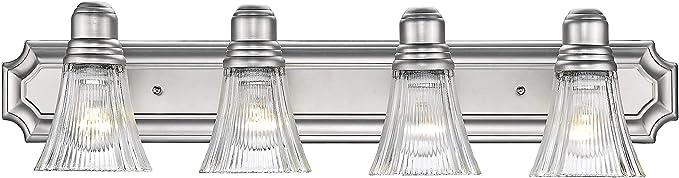 Odeums Classic Bathroom Vanity Lights Interior Wall Sconce 4 Lights Bath Lighting Fixture Modern Home Bathroom Lighting In Satin Nickel Finish Amazon Com