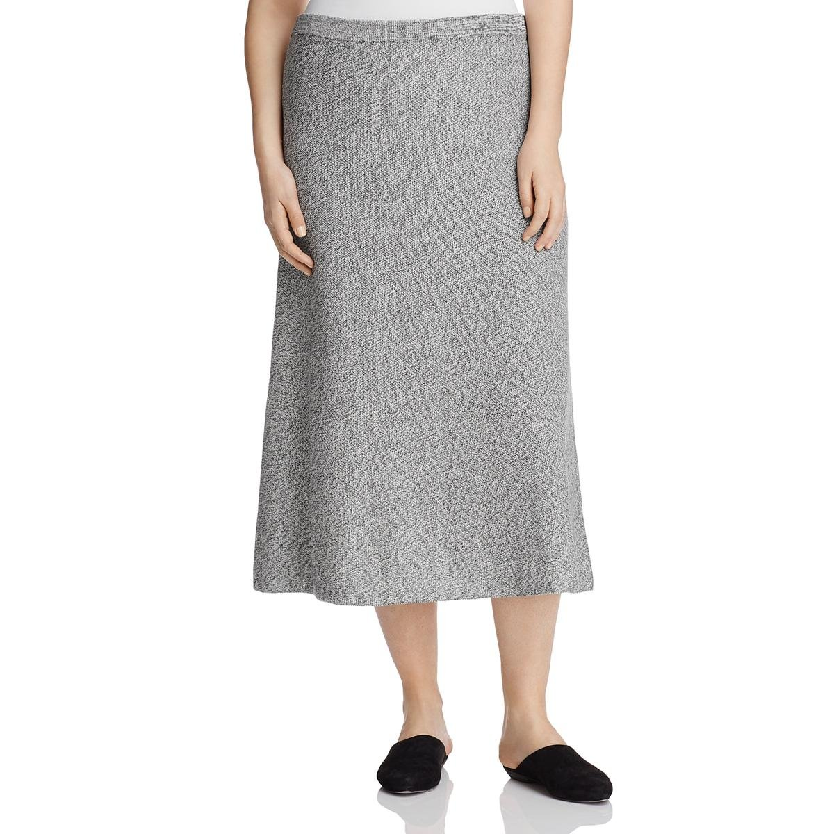 Eileen Fisher Womens Plus Pull on Long Flare Skirt Gray 3X