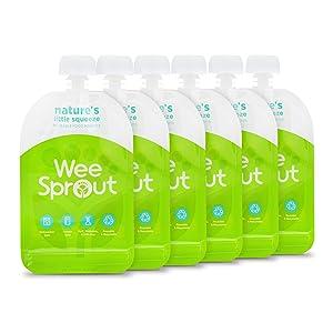 WeeSprout Double Zipper Reusable Food Pouches (Green, 3.4 fl oz)
