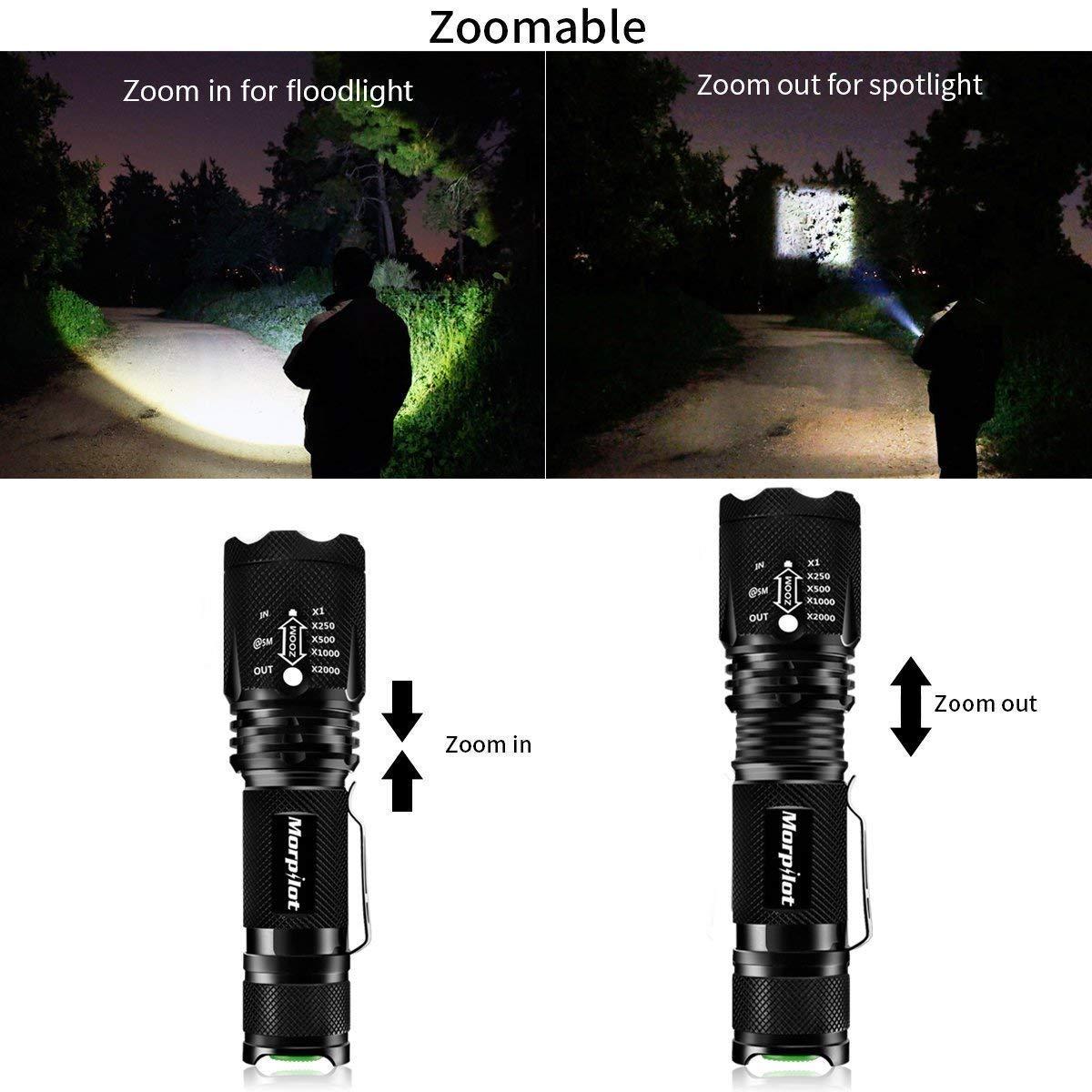 Coltello da Caccia e Torcia LED Potente Set Morpilot Coltello Multiuso 4 Funzioni Acciaio Inossidabile Torce a LED 5 Modalità 500LM Impermeabile IPX4 Portatile per Campeggio