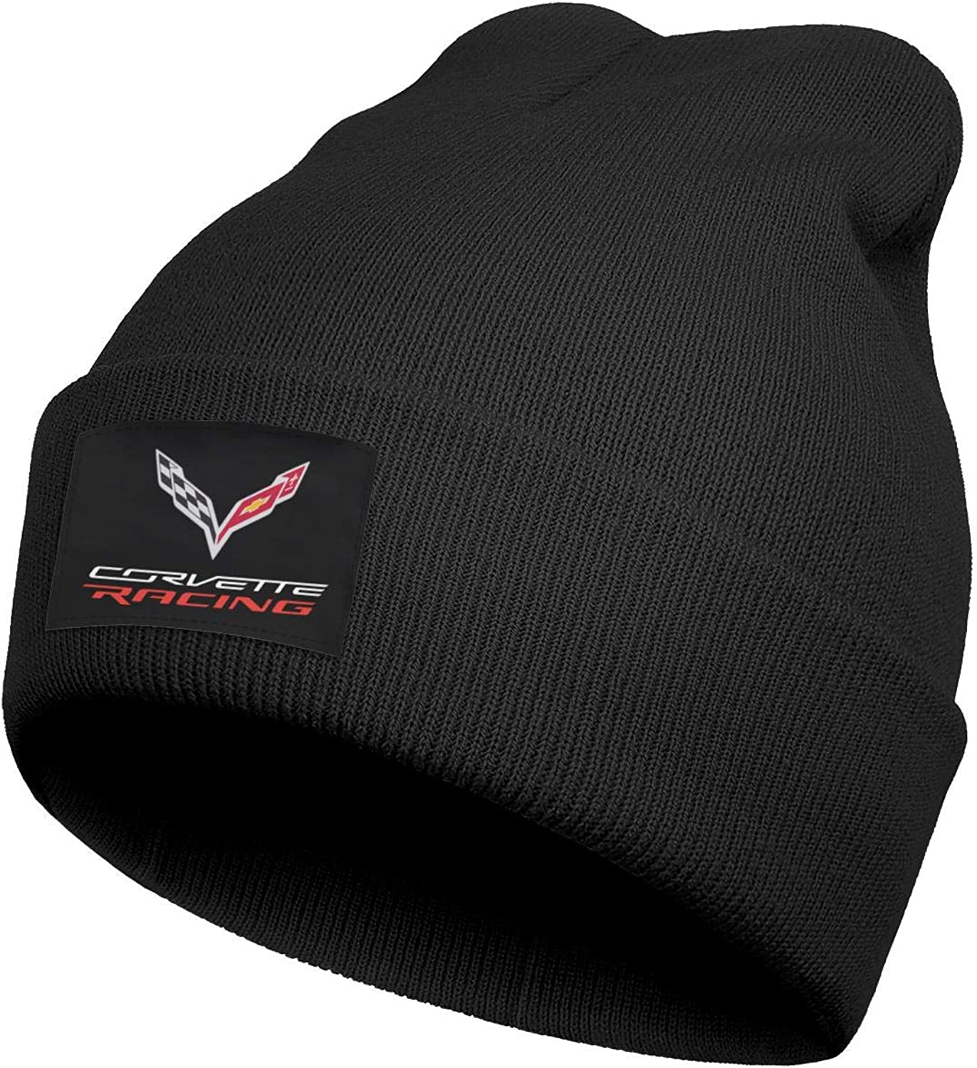 Vicnen Corvette Apparel Racing Logo Unisex Skull Cap Winter Warm Hood Cap Beanie Hat Black