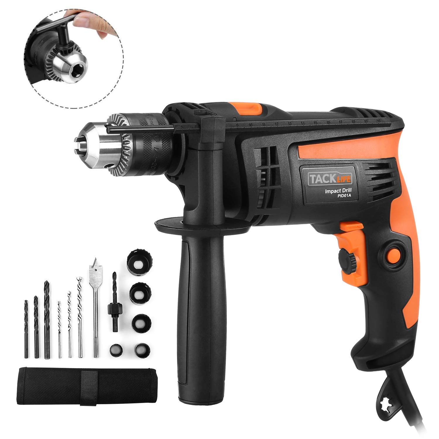 Hammer Drill, TACKLIFE 1 2-Inch Electric Drill, 12 Drill Bit Set, 2800 RPM, Variable-speed Trigger, 360 Rotating Handle, For Brick, Wood, Steel, Masonry – PID01A