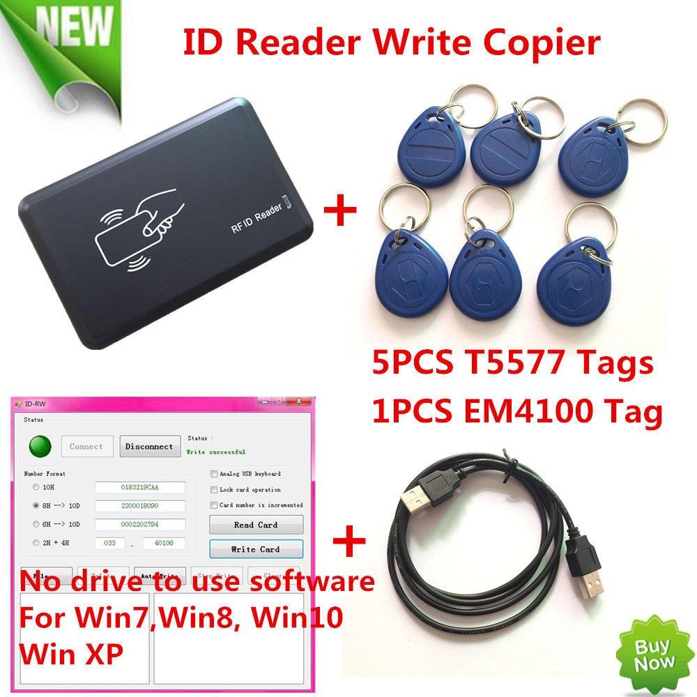 FidgetFidget USB 125KHZ RFID EM Card Reader Writer Copier Duplicater Clone T5577 Programmer