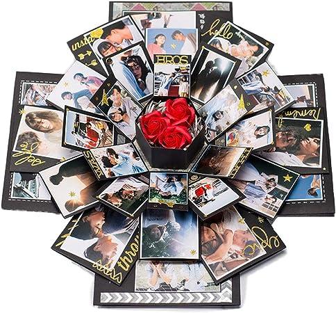 Handfly Explosión Caja de regalo DIY Álbum de fotos Álbum de recortes Caja de sorpresa Caja de regalo para compromiso de boda Aniversarios de cumpleaños Regalos de San Valentín: Amazon.es: Hogar