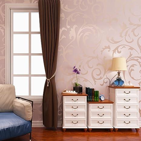 Hanmero High Grade Flocking Victorian Embossed Wallpaper Roll Wallpaper 053m20810m32853ãž57sqfeet Pink