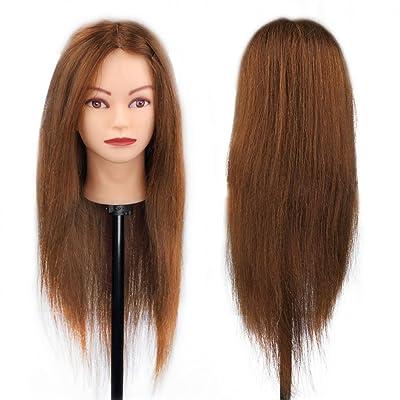 Peluquería Head Exercise Manikin Hairstyle - 100% Natural Hair para estudio profesional en cosmetología - 66cm Brown: Belleza