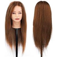Tête à Coiffer Mannequin d'Exercice Coiffure - 100% Cheveux Naturel Pour Etude Professionnel dans la Cosmétologie - 66cm Brun - Besmall