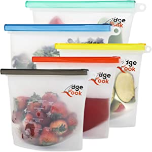 Edge Cook Reusable-Silicone-Food-Storage-Bags - Premium Airtight-Seal-Best-For-Food-Cooking and Preserving - 100% Leakproof, Eco-friendly, Dishwasher, Oven, Freezer Safe (Set of 5-2 Large+3 Medium)