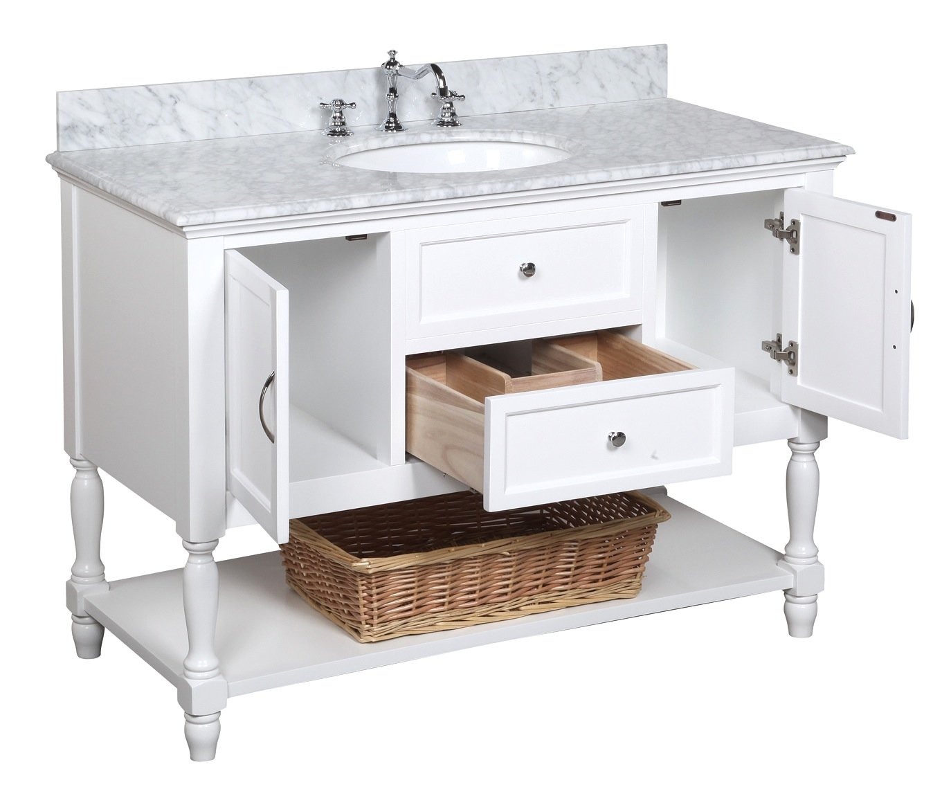 Kitchen Bath Collection KBC17WTCARR Beverly Bathroom Vanity with ...