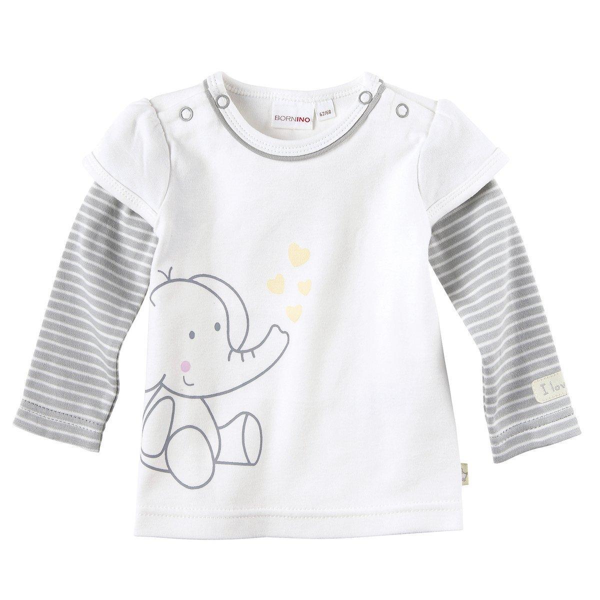 Bornino Baby Shirt 2in1 / Basics Babybekleidung/Sweatshirt mit Druckknöpfen/Größe 50 / weiß/grau