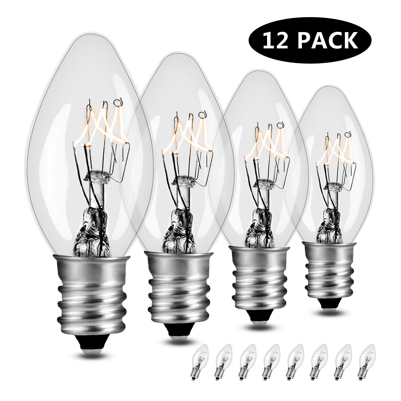 Small Light Bulbs, 7W Salt Lamp Light Bulb, Night Light Replacement Bulb, Flea Traps, Electric Window Candle Bulb, Night Lamps & Chandeliers. Incandescent E12 Socket C7, 12 Packs