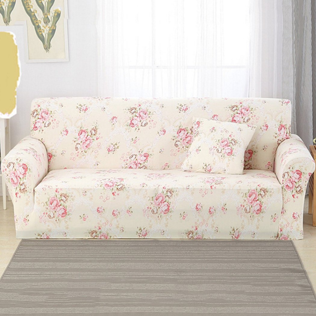 Justdolife Sofa Cover Stretch Furniture Cover Slip Resistant Country Style Sofa Slipcover Home Furniture Decor