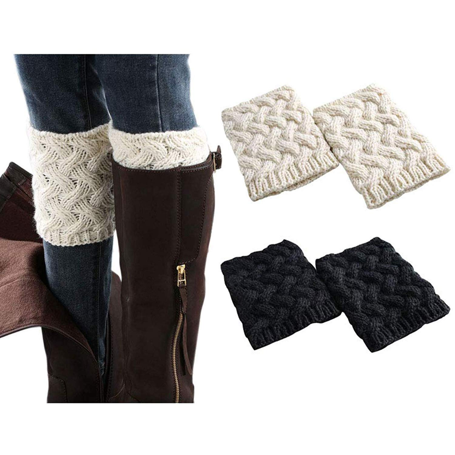 2pairs Women Boot Cuffs  Winter Knitted Boots Socks Crochet Short Leg Warmers