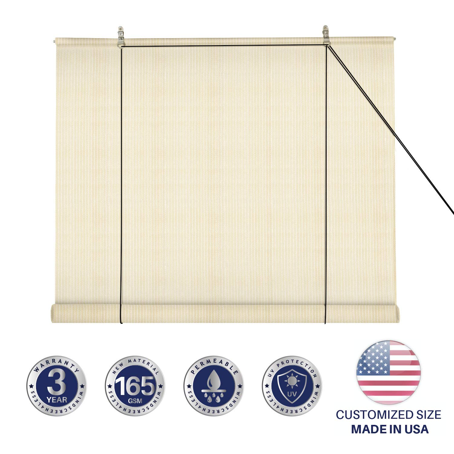 Windscreen4less Exterior Roller Shade Blinds Outdoor Roll Up Shade with 90% UV Protection Privacy for Deck Back Yard Gazebo Pergola Balcony Patio Porch Carport 8' W x 5' L Beige