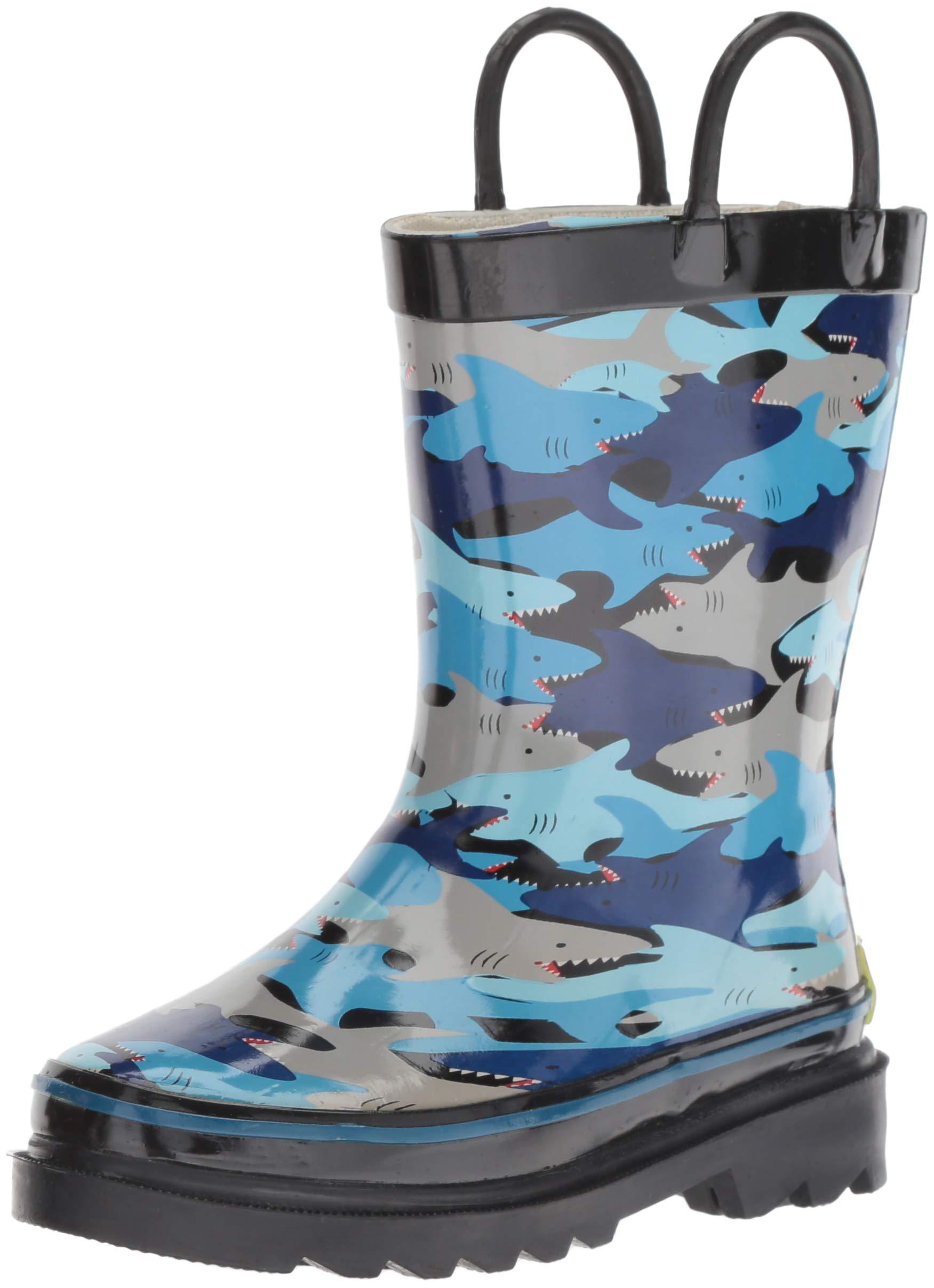 Western Chief Boys' Waterproof Printed Rain Boot, Shark Chomp, 7/8 Medium US Toddler