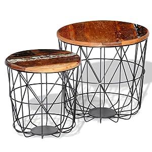 vidaXL Set 2 tavolini da caffè tavolini da Salotto in Legno Riciclato 35 cm/45cm