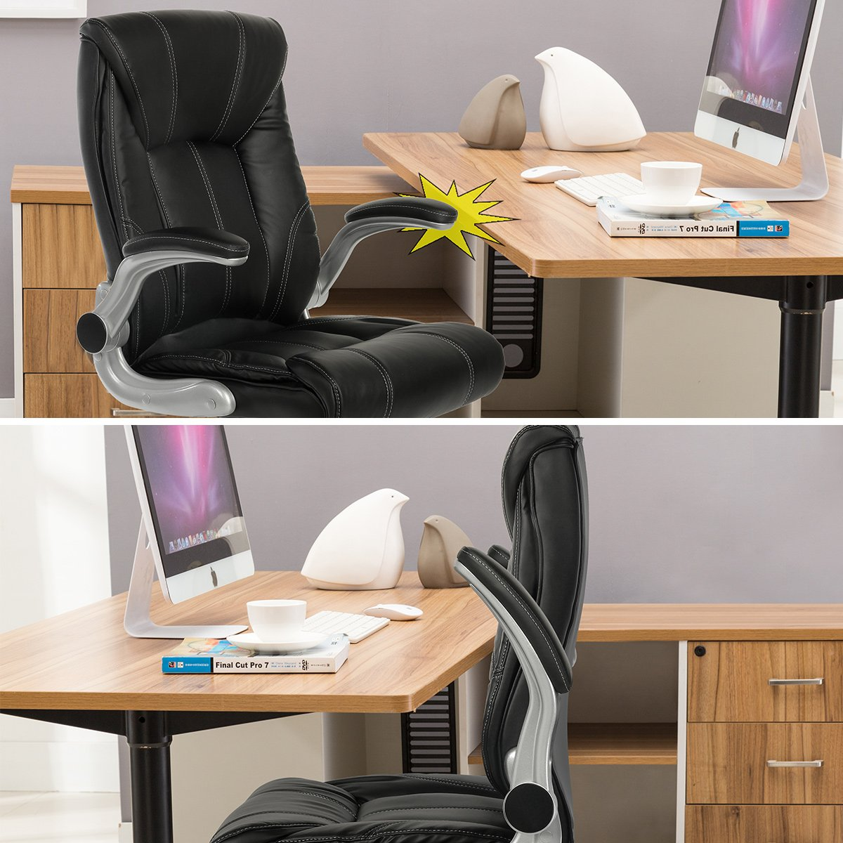 YAMASORO Ergonomic High-Back Executive Office Chair PU Leather Computer Desk Chair with Flip-up Arms and Back Support by YAMASORO (Image #5)