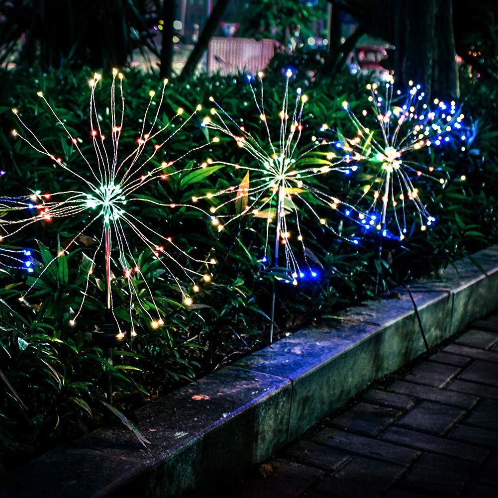 Anordsem Solar Garden Lights Solar Stake Lights DIY Firework Lights Foldable Branches IP67 Waterproof LED Outdoor Home Decor Artificial Trees for Christmas Birthday Wedding Party Color Changing 2 Pack