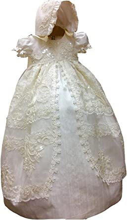 Fenghuavip Lace Christening Dress Long for Baby-Girls Baptism Day